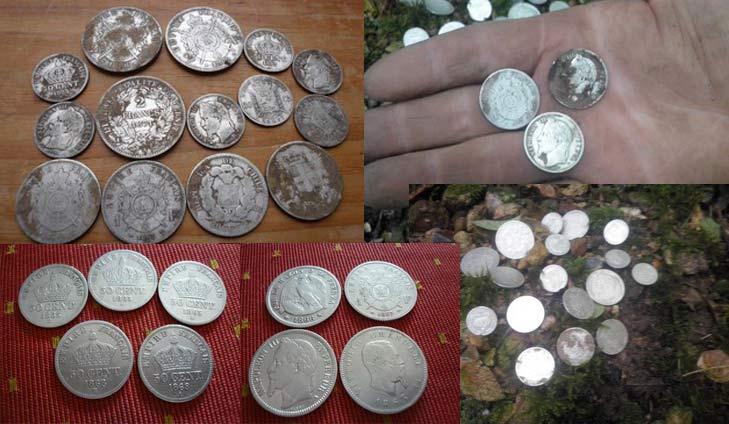 Conjunto de monedas de plata encontradas con g2 y Omega 8000