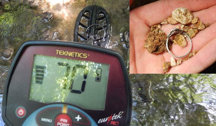 Detección de un anillo de oro blanco con un Teknetics EUROTEK PRO