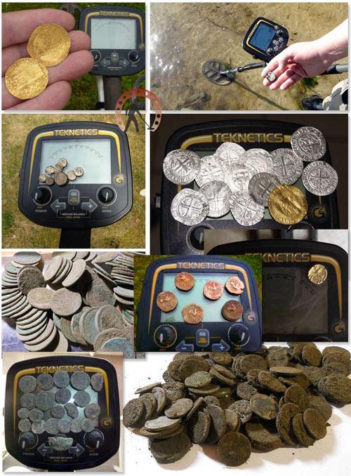 Monedas encontradas con el detector de metales teknetics g2